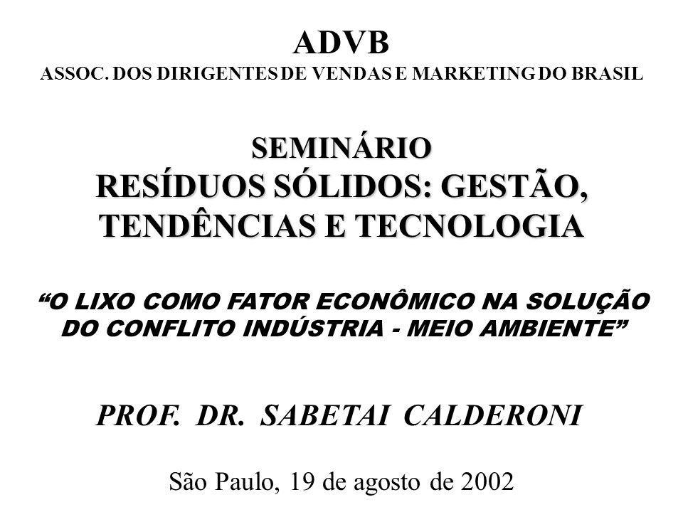 BRASIL E MUNICÍPIO DE SÃO PAULO MAGNITUDE DOS GANHOS PROPORCIONADOS PELA RECICLAGEM DE LIXO COM GERAÇÃO DE ENERGIA ELÉTRICA GANHOSBRASILMSP ECONOMIA OBTIDA 1,192 bi0,326 bi ECONOMIA PERDIDA 4,645 bi0,791 bi ECONOMIA POSSÍVEL 10,000 bi1,500 bi Em R$ bilhões / ano, constantes de setembro / 96 SABETAI CALDERONI / 2002