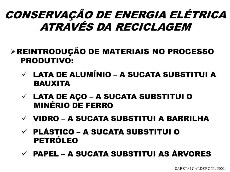 CONSERVAÇÃO DE ENERGIA ELÉTRICA ATRAVÉS DA RECICLAGEM REINTRODUÇÃO DE MATERIAIS NO PROCESSO PRODUTIVO: LATA DE ALUMÍNIO – A SUCATA SUBSTITUI A BAUXITA