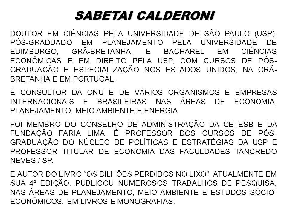 DOUTOR EM CIÊNCIAS PELA UNIVERSIDADE DE SÃO PAULO (USP), PÓS-GRADUADO EM PLANEJAMENTO PELA UNIVERSIDADE DE EDIMBURGO, GRÃ-BRETANHA, E BACHAREL EM CIÊN