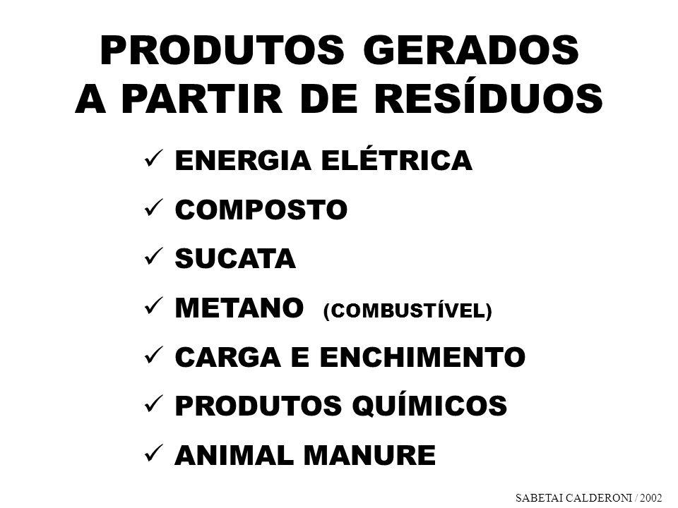 PRODUTOS GERADOS A PARTIR DE RESÍDUOS ENERGIA ELÉTRICA COMPOSTO SUCATA METANO (COMBUSTÍVEL) CARGA E ENCHIMENTO PRODUTOS QUÍMICOS ANIMAL MANURE SABETAI