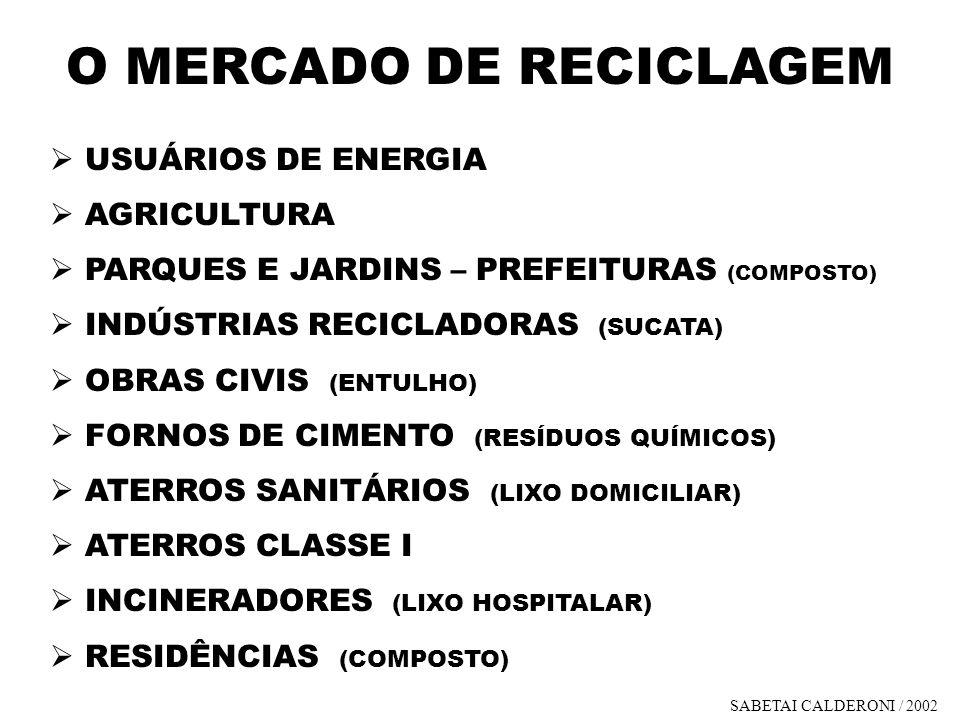 O MERCADO DE RECICLAGEM USUÁRIOS DE ENERGIA AGRICULTURA PARQUES E JARDINS – PREFEITURAS (COMPOSTO) INDÚSTRIAS RECICLADORAS (SUCATA) OBRAS CIVIS (ENTUL