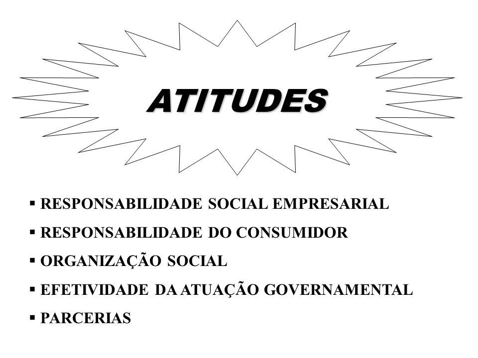 RESPONSABILIDADE SOCIAL EMPRESARIAL RESPONSABILIDADE DO CONSUMIDOR ORGANIZAÇÃO SOCIAL EFETIVIDADE DA ATUAÇÃO GOVERNAMENTAL PARCERIAS ATITUDES