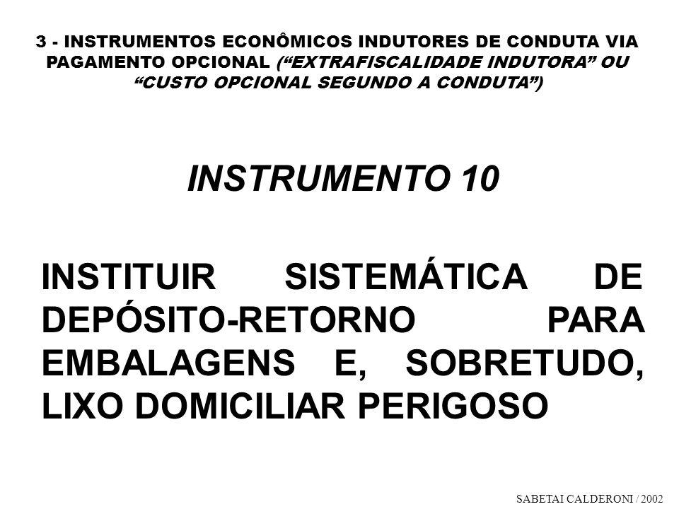 INSTRUMENTO 10 INSTITUIR SISTEMÁTICA DE DEPÓSITO-RETORNO PARA EMBALAGENS E, SOBRETUDO, LIXO DOMICILIAR PERIGOSO 3 - INSTRUMENTOS ECONÔMICOS INDUTORES