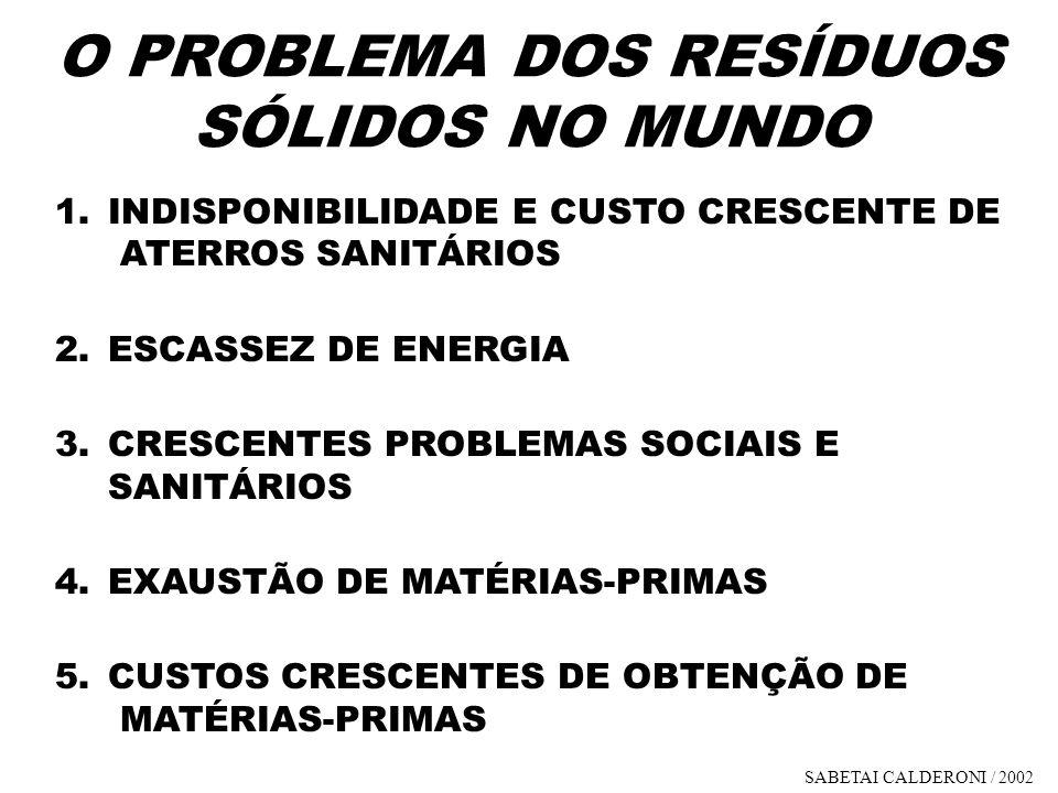 1.INDISPONIBILIDADE E CUSTO CRESCENTE DE ATERROS SANITÁRIOS 2.ESCASSEZ DE ENERGIA 3.CRESCENTES PROBLEMAS SOCIAIS E SANITÁRIOS 4.EXAUSTÃO DE MATÉRIAS-P