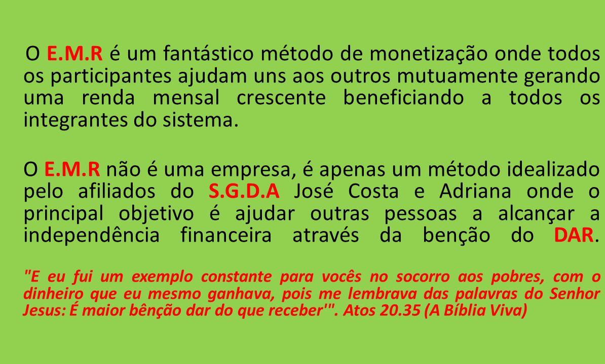 VEJA AGORA COMO É POSSÍVEL CHEGAR A UMA RENDA MENSAL ACIMA DE R$400.000,00 USANDO O FANTÁSTICO MÉTODO DE MONETIZAÇÃO E.M.R Para ser aplicado esse método de forma simples e 100% eficiente vamos utilizar o melhor e mais confiável Sistema de Marketing pela internet do Brasil, o S.G.D.A (Sistema Ganhar Dinheiro Agora).