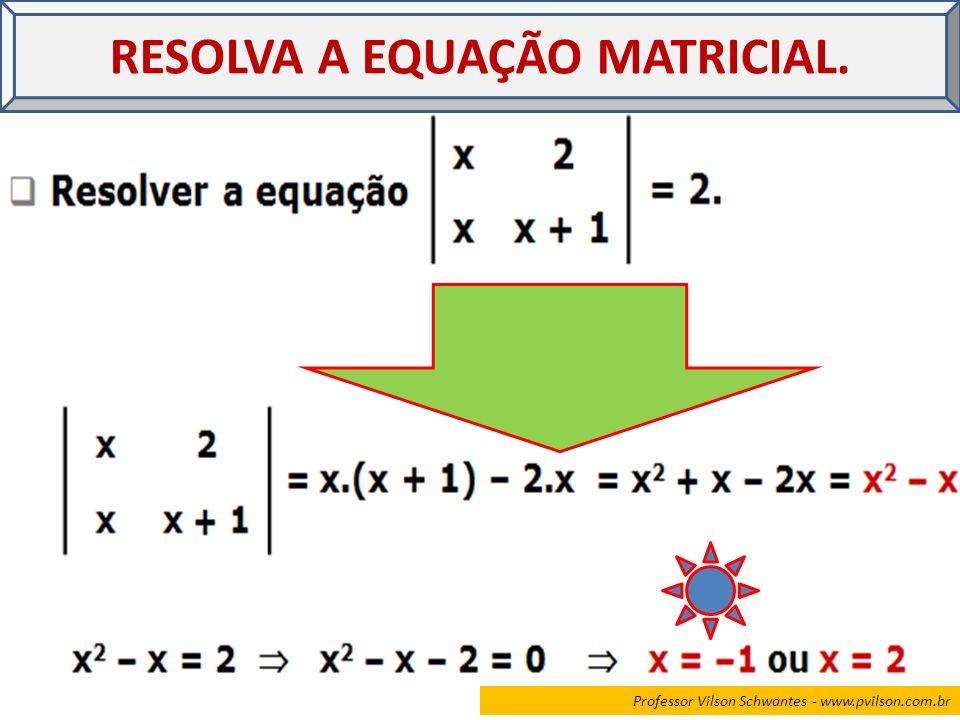 Professor Vilson Schwantes - www.pvilson.com.br RESOLVA A EQUAÇÃO MATRICIAL.