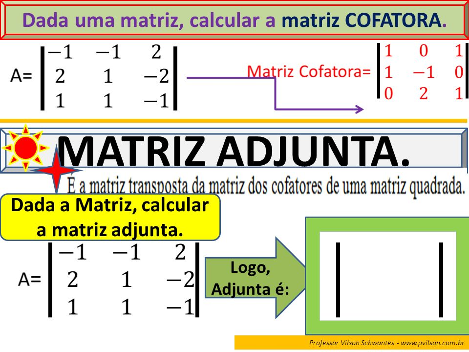 Professor Vilson Schwantes - www.pvilson.com.br Dada uma matriz, calcular a matriz COFATORA. MATRIZ ADJUNTA. Dada a Matriz, calcular a matriz adjunta.