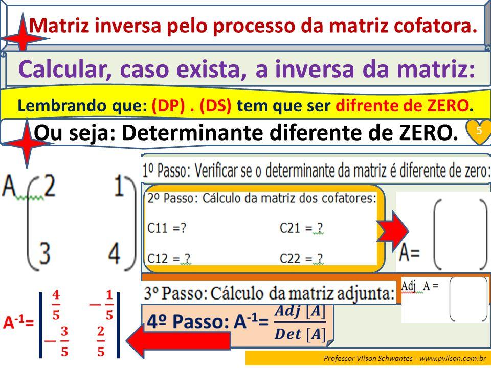 Professor Vilson Schwantes - www.pvilson.com.br Matriz inversa pelo processo da matriz cofatora. Calcular, caso exista, a inversa da matriz: Lembrando