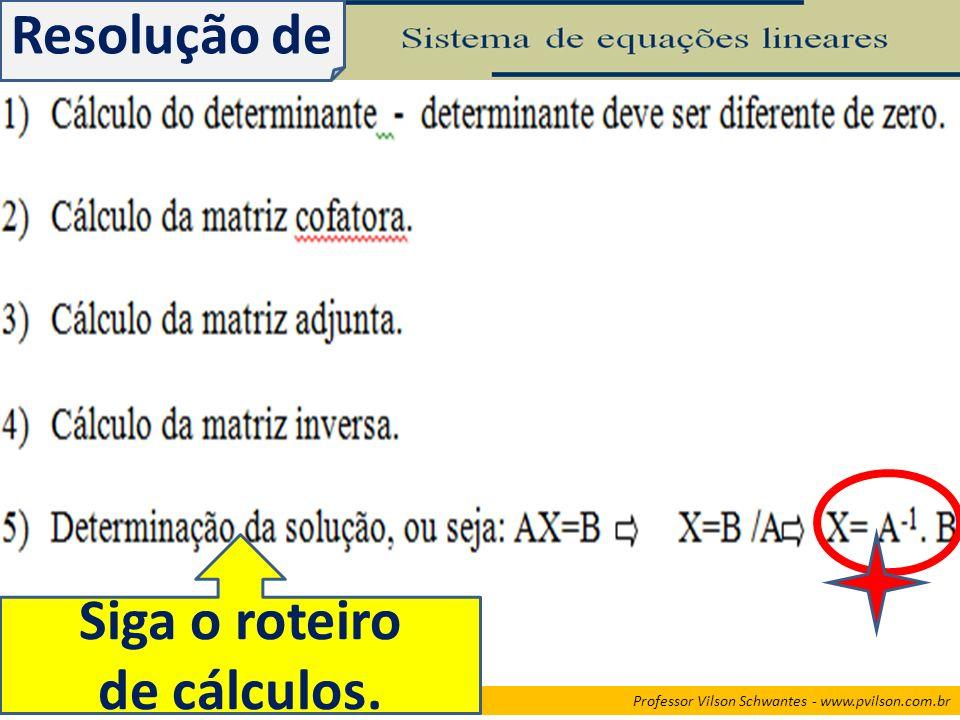 Professor Vilson Schwantes - www.pvilson.com.br Resolução de Siga o roteiro de cálculos.
