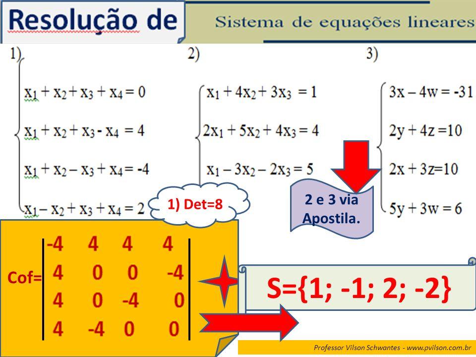 Professor Vilson Schwantes - www.pvilson.com.br Cof= 1) Det=8 S={1; -1; 2; -2} 2 e 3 via Apostila.