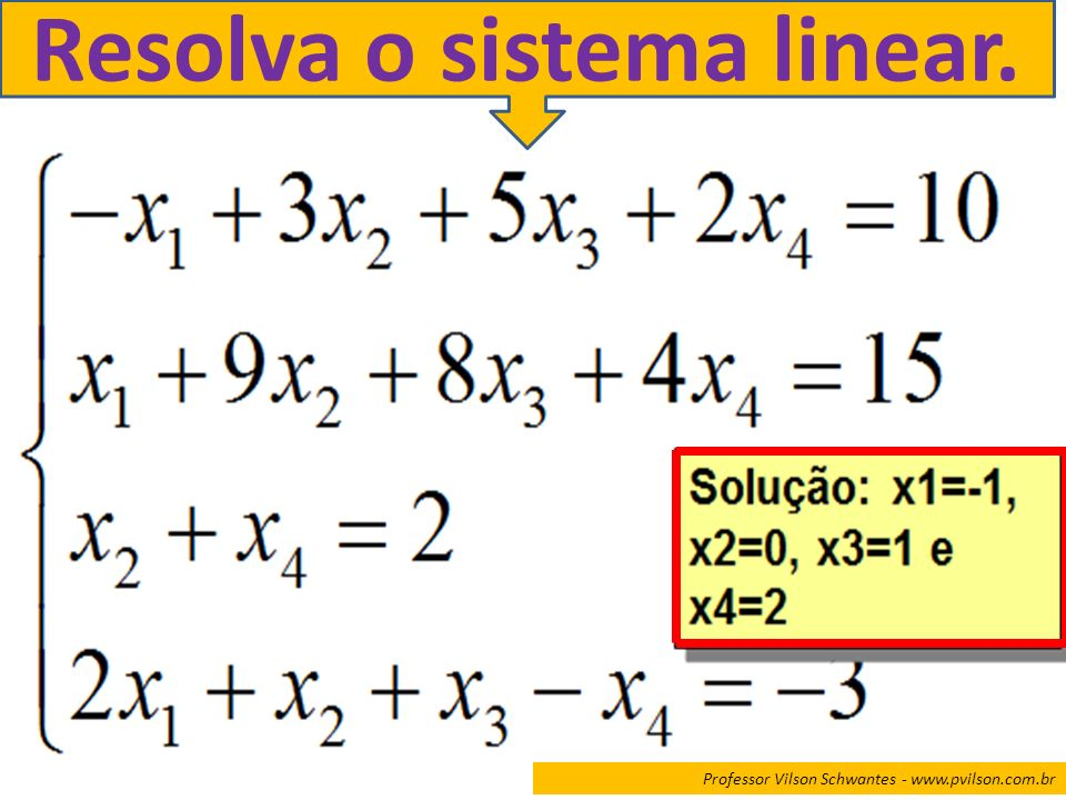 Resolva o sistema linear.