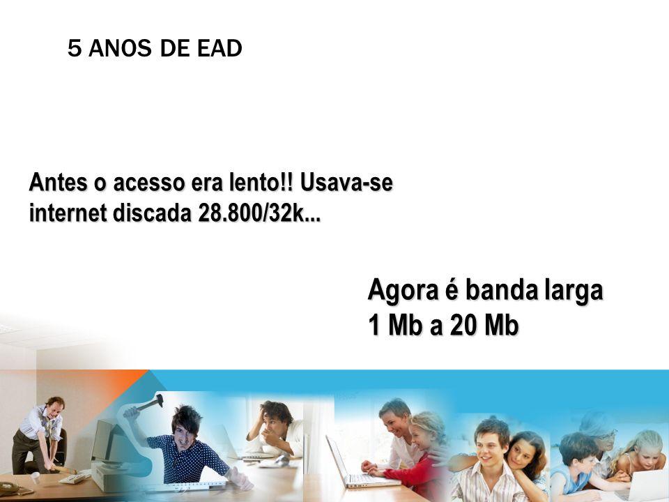 Antes o acesso era lento!! Usava-se internet discada 28.800/32k... Agora é banda larga 1 Mb a 20 Mb 5 ANOS DE EAD