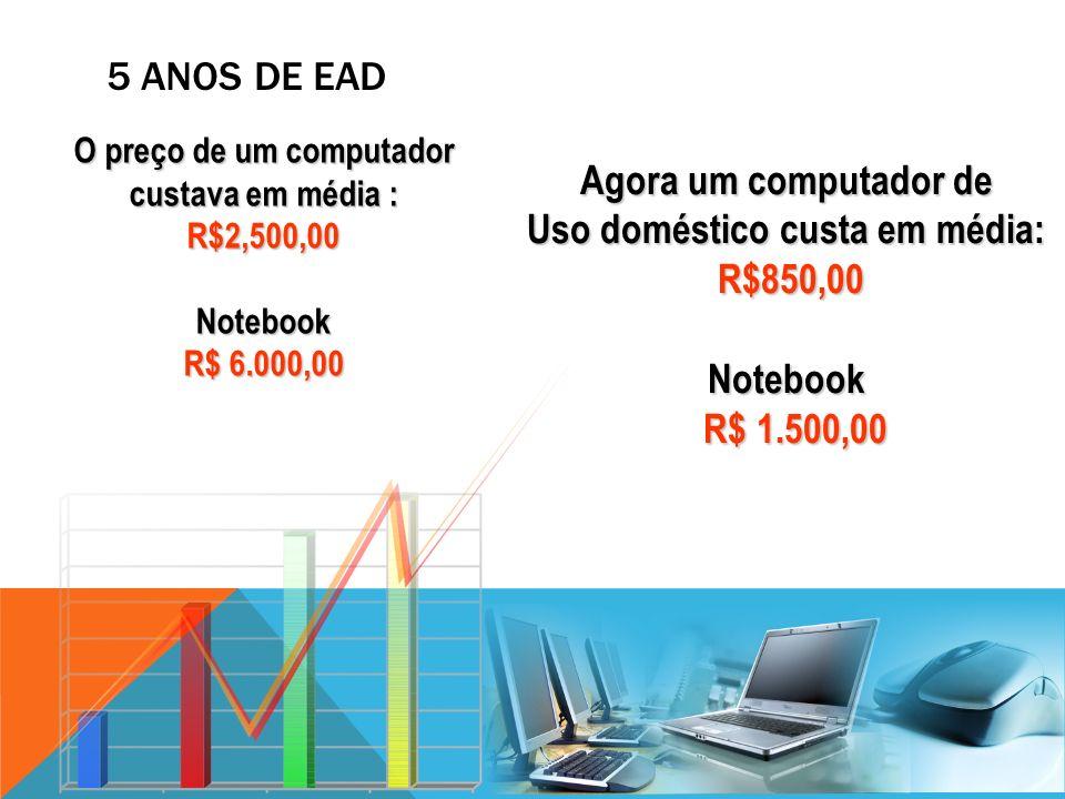 O preço de um computador custava em média : R$2,500,00 Notebook R$ 6.000,00 O preço de um computador custava em média : R$2,500,00 Notebook R$ 6.000,0