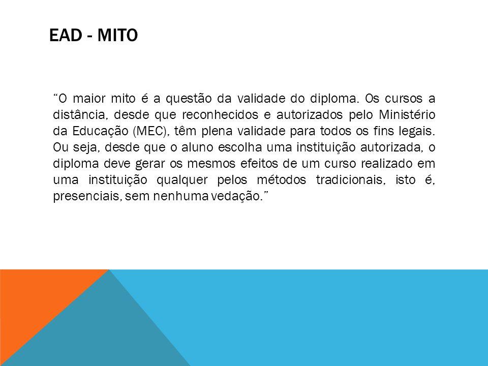 EAD - MITO O maior mito é a questão da validade do diploma. Os cursos a distância, desde que reconhecidos e autorizados pelo Ministério da Educação (M