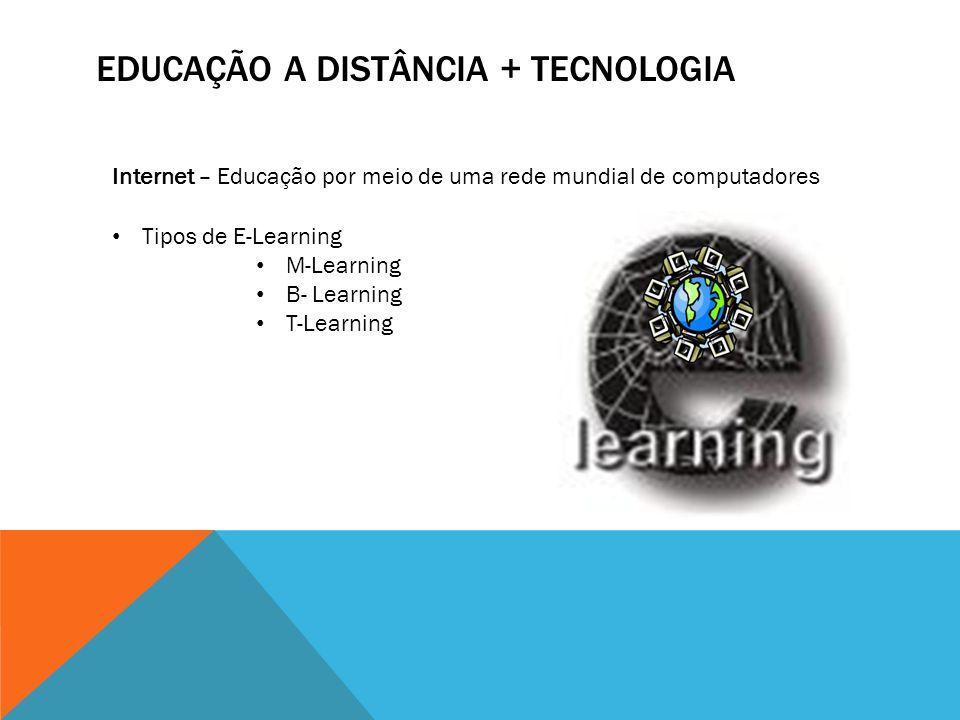 EDUCAÇÃO A DISTÂNCIA + TECNOLOGIA Internet – Educação por meio de uma rede mundial de computadores Tipos de E-Learning M-Learning B- Learning T-Learni