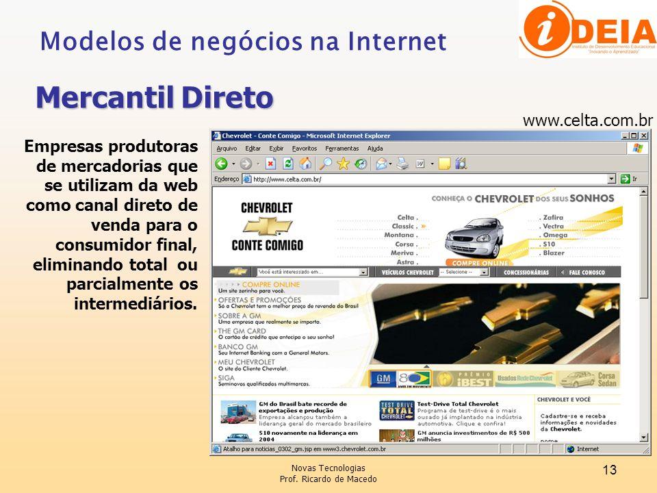 Novas Tecnologias Prof. Ricardo de Macedo 13 Modelos de negócios na Internet Mercantil Direto www.celta.com.br Empresas produtoras de mercadorias que