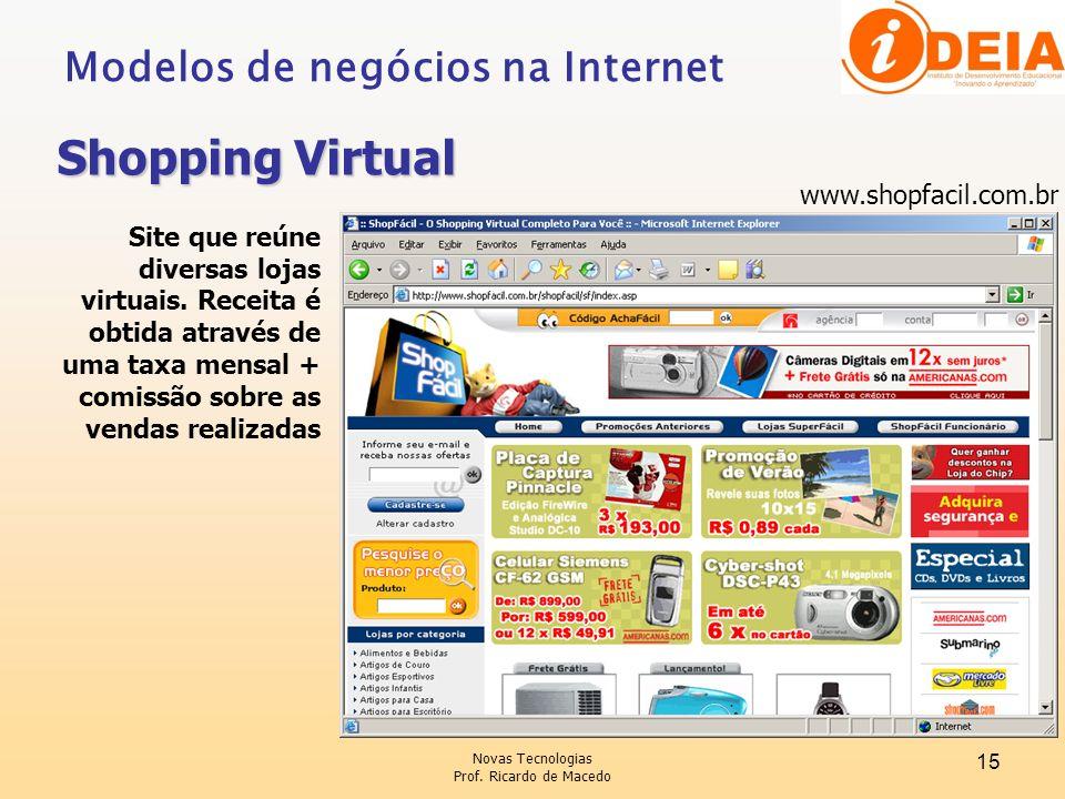 Novas Tecnologias Prof. Ricardo de Macedo 15 www.shopfacil.com.br Site que reúne diversas lojas virtuais. Receita é obtida através de uma taxa mensal