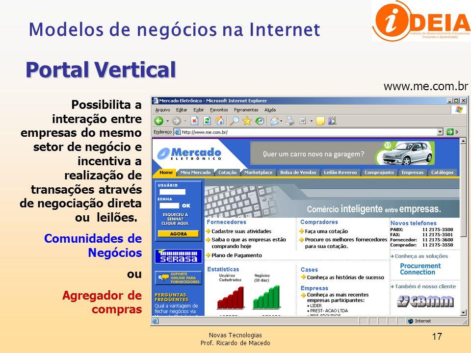Novas Tecnologias Prof. Ricardo de Macedo 17 www.me.com.br Possibilita a interação entre empresas do mesmo setor de negócio e incentiva a realização d