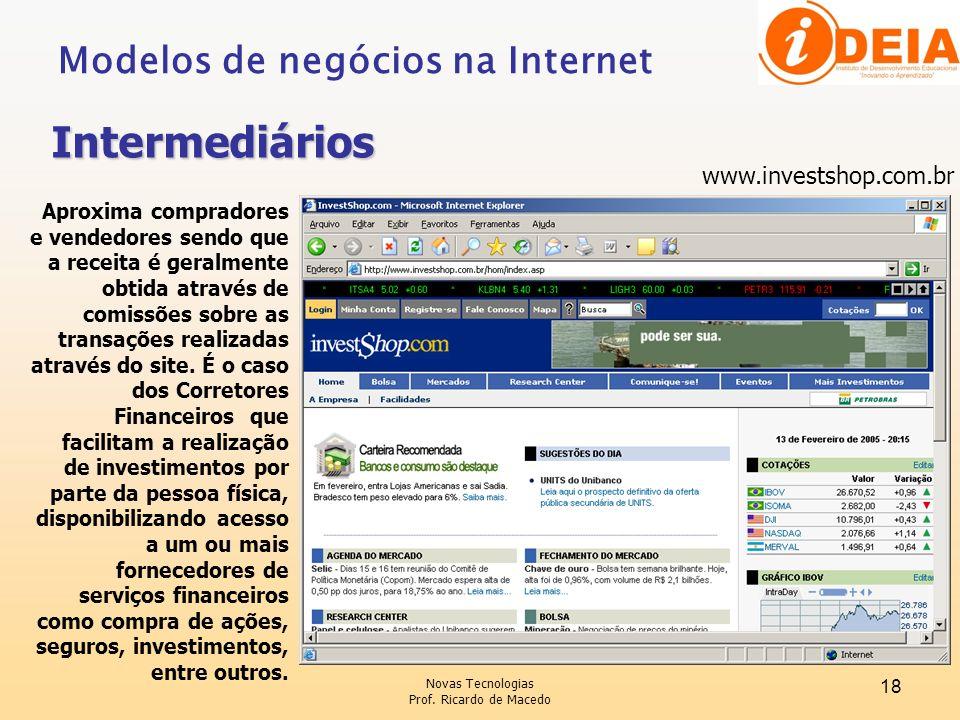 Novas Tecnologias Prof. Ricardo de Macedo 18 www.investshop.com.br Aproxima compradores e vendedores sendo que a receita é geralmente obtida através d