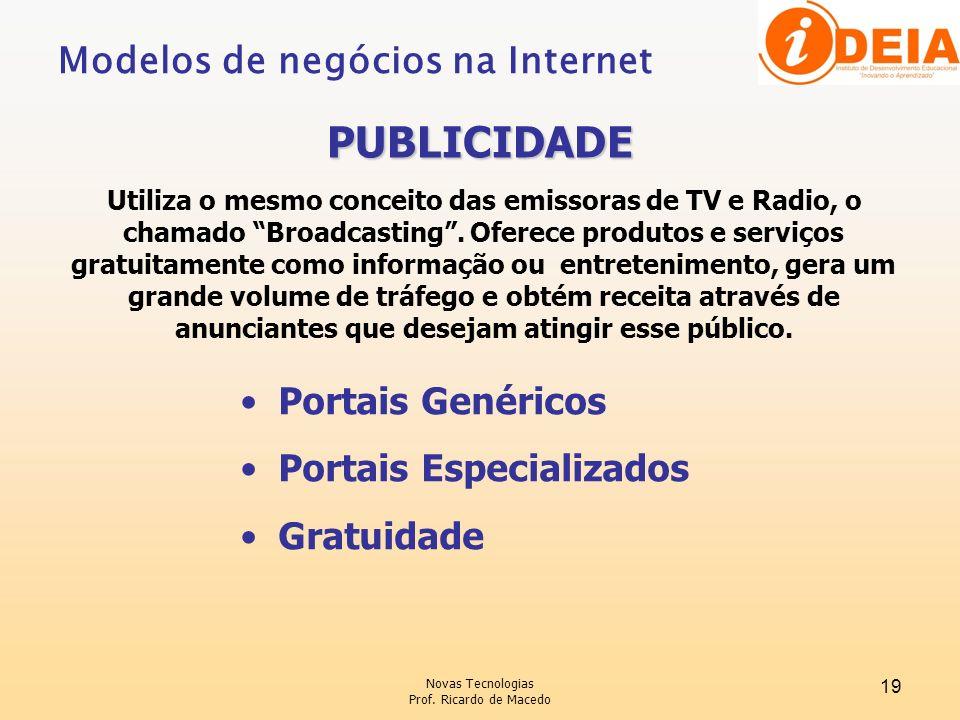 Novas Tecnologias Prof. Ricardo de Macedo 19 Utiliza o mesmo conceito das emissoras de TV e Radio, o chamado Broadcasting. Oferece produtos e serviços