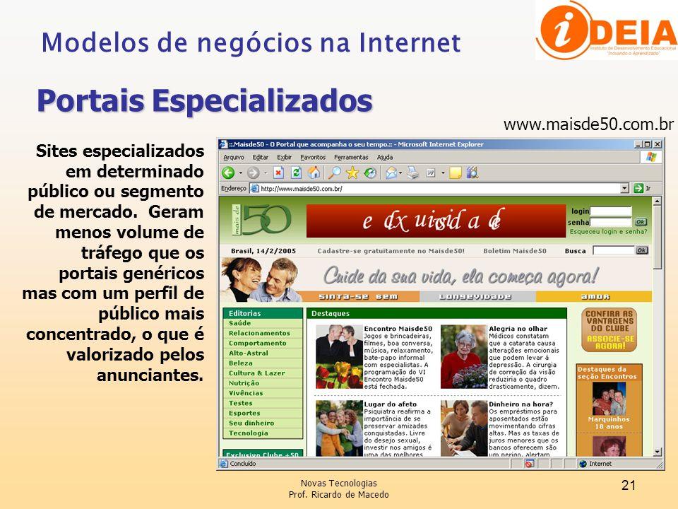 Novas Tecnologias Prof. Ricardo de Macedo 21 www.maisde50.com.br Sites especializados em determinado público ou segmento de mercado. Geram menos volum