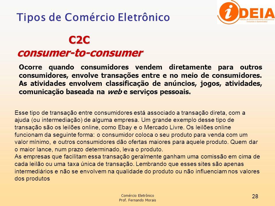 Comércio Eletrônico Prof. Fernando Morais 28 Ocorre quando consumidores vendem diretamente para outros consumidores, envolve transações entre e no mei