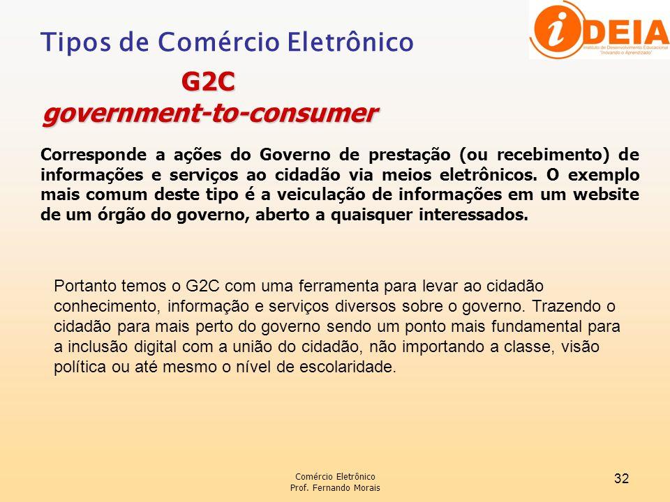Comércio Eletrônico Prof. Fernando Morais 32 Corresponde a ações do Governo de prestação (ou recebimento) de informações e serviços ao cidadão via mei