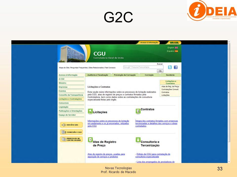 G2C Novas Tecnologias Prof. Ricardo de Macedo 33