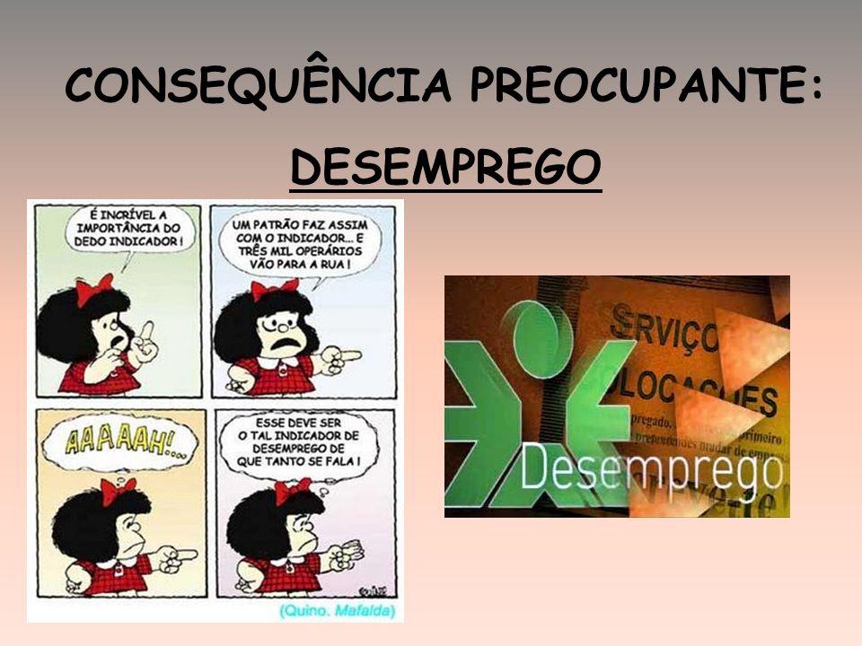 CONSEQUÊNCIA PREOCUPANTE: DESEMPREGO