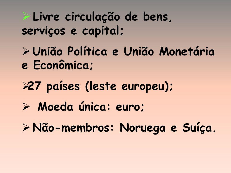 Livre circulação de bens, serviços e capital; União Política e União Monetária e Econômica; 27 países (leste europeu); Moeda única: euro; Não-membros: Noruega e Suíça.