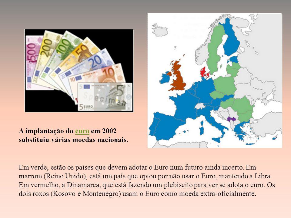 Em verde, estão os países que devem adotar o Euro num futuro ainda incerto.