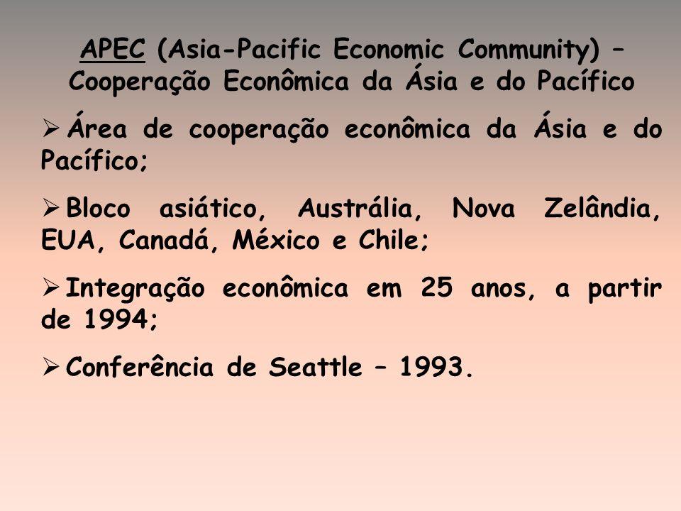 APEC (Asia-Pacific Economic Community) – Cooperação Econômica da Ásia e do Pacífico Área de cooperação econômica da Ásia e do Pacífico; Bloco asiático, Austrália, Nova Zelândia, EUA, Canadá, México e Chile; Integração econômica em 25 anos, a partir de 1994; Conferência de Seattle – 1993.