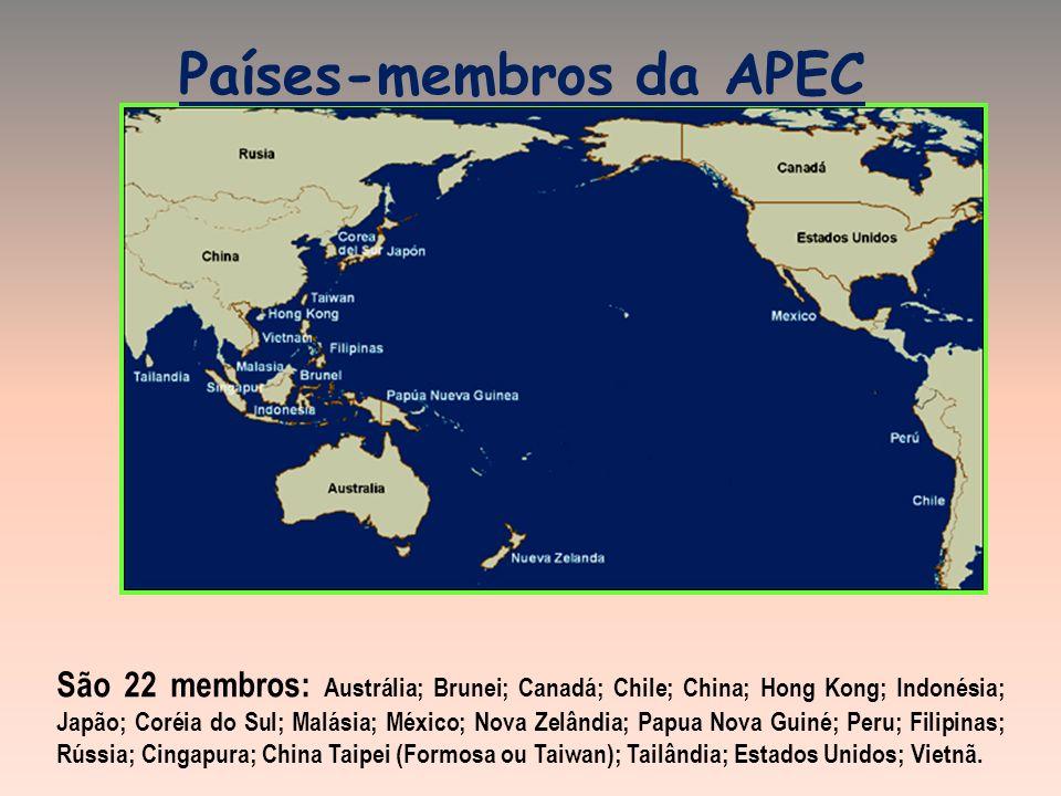 Países-membros da APEC São 22 membros: Austrália; Brunei; Canadá; Chile; China; Hong Kong; Indonésia; Japão; Coréia do Sul; Malásia; México; Nova Zelândia; Papua Nova Guiné; Peru; Filipinas; Rússia; Cingapura; China Taipei (Formosa ou Taiwan); Tailândia; Estados Unidos; Vietnã.