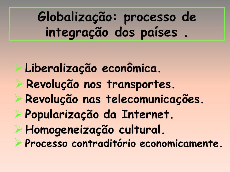 Globalização: processo de integração dos países.Liberalização econômica.