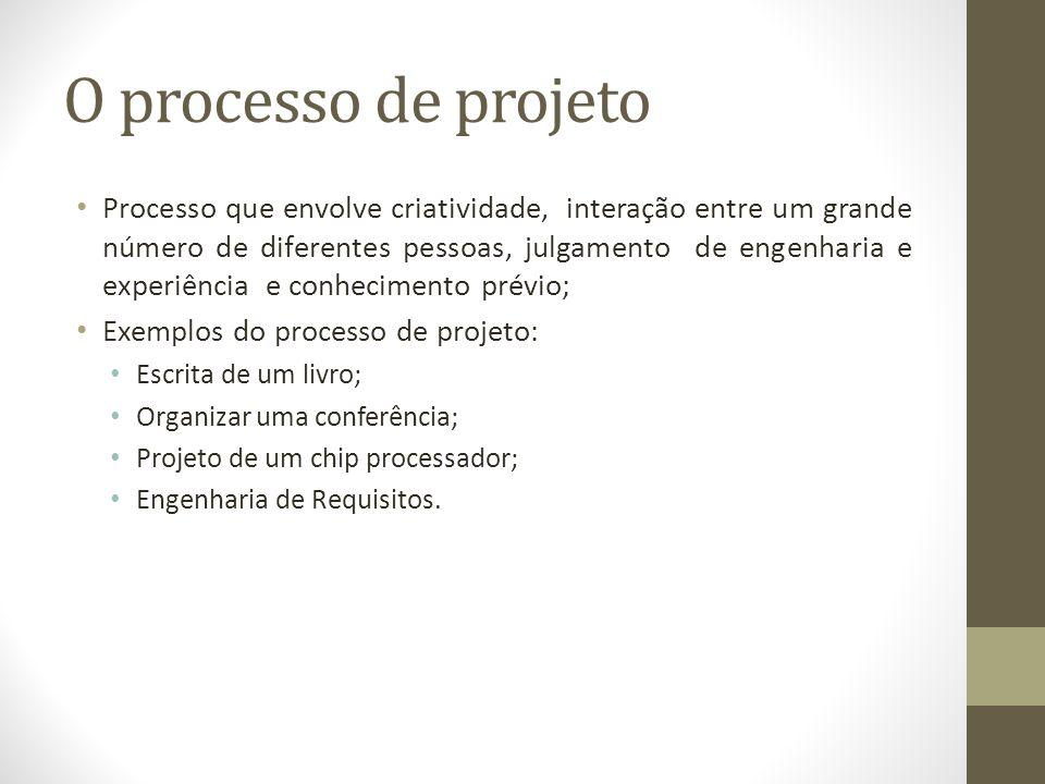 O processo de projeto Processo que envolve criatividade, interação entre um grande número de diferentes pessoas, julgamento de engenharia e experiência e conhecimento prévio; Exemplos do processo de projeto: Escrita de um livro; Organizar uma conferência; Projeto de um chip processador; Engenharia de Requisitos.