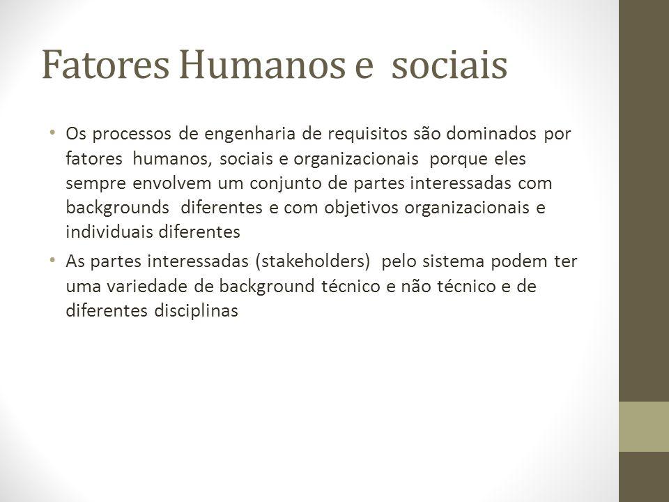 Fatores Humanos e sociais Os processos de engenharia de requisitos são dominados por fatores humanos, sociais e organizacionais porque eles sempre env