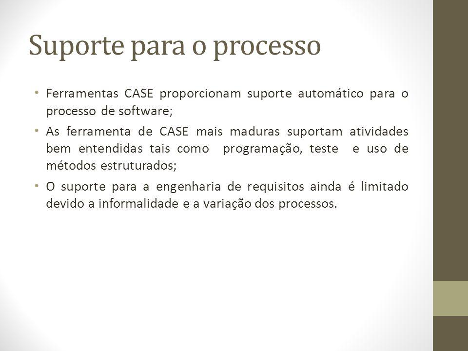 Suporte para o processo Ferramentas CASE proporcionam suporte automático para o processo de software; As ferramenta de CASE mais maduras suportam ativ