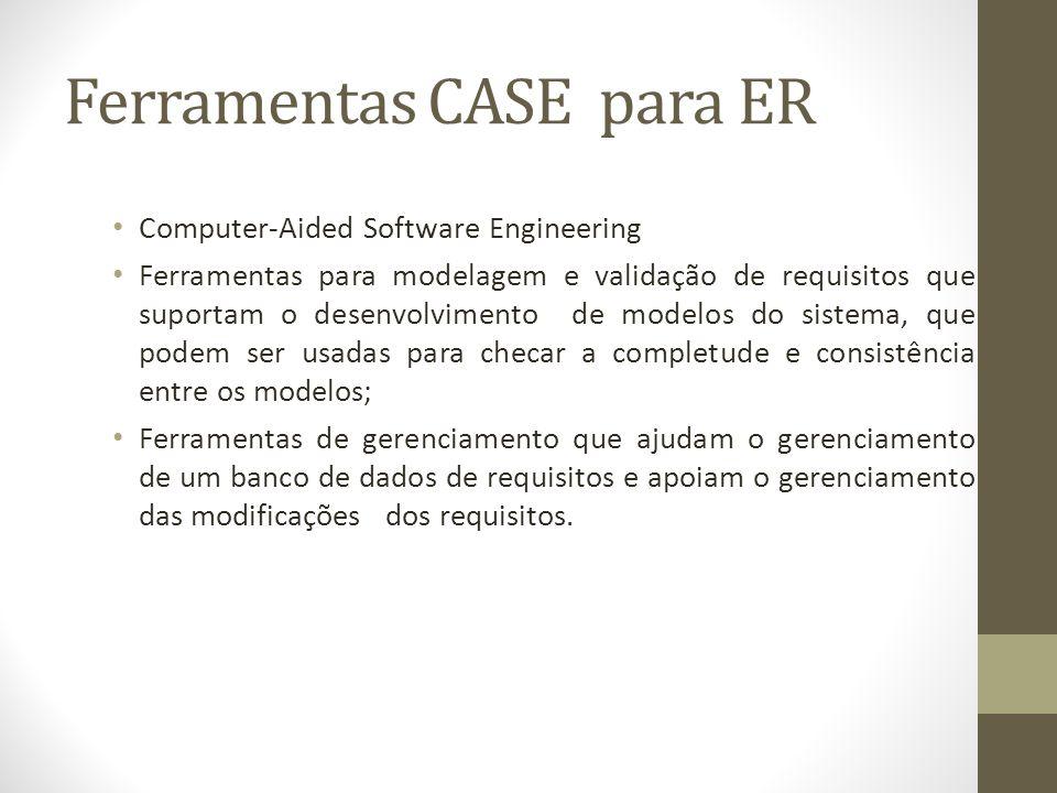 Ferramentas CASE para ER Computer-Aided Software Engineering Ferramentas para modelagem e validação de requisitos que suportam o desenvolvimento de mo
