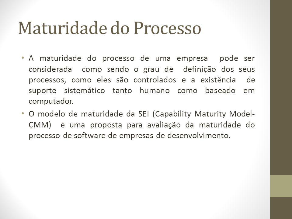 Maturidade do Processo A maturidade do processo de uma empresa pode ser considerada como sendo o grau de definição dos seus processos, como eles são controlados e a existência de suporte sistemático tanto humano como baseado em computador.