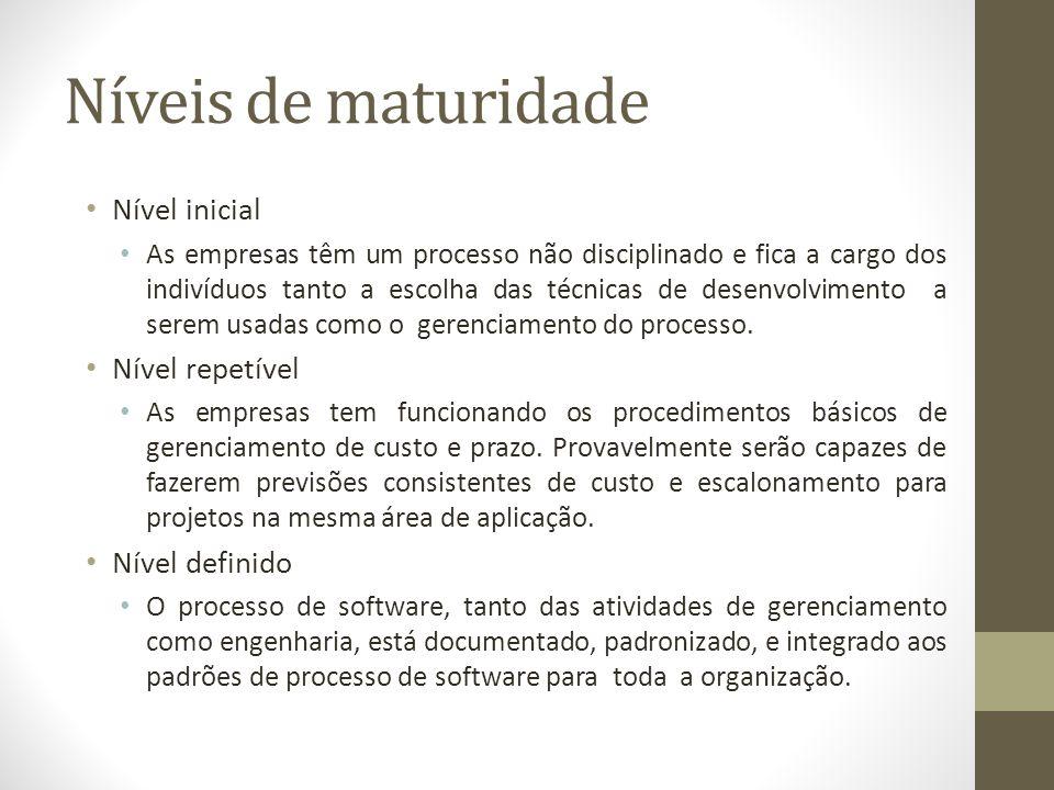 Níveis de maturidade Nível inicial As empresas têm um processo não disciplinado e fica a cargo dos indivíduos tanto a escolha das técnicas de desenvolvimento a serem usadas como o gerenciamento do processo.