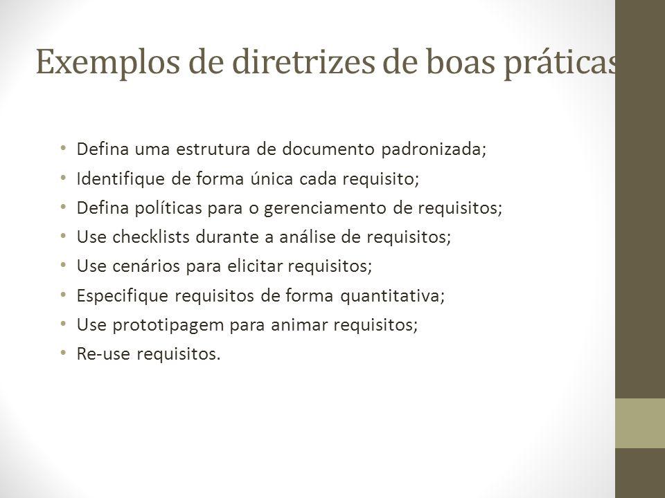 Exemplos de diretrizes de boas práticas Defina uma estrutura de documento padronizada; Identifique de forma única cada requisito; Defina políticas para o gerenciamento de requisitos; Use checklists durante a análise de requisitos; Use cenários para elicitar requisitos; Especifique requisitos de forma quantitativa; Use prototipagem para animar requisitos; Re-use requisitos.