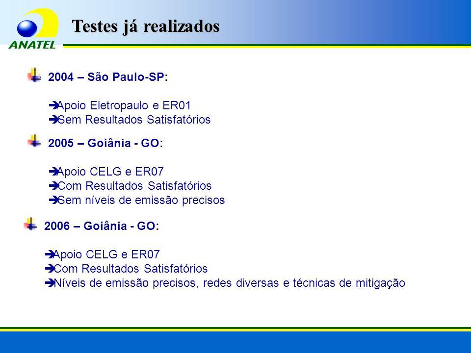 2004 – São Paulo-SP: Apoio Eletropaulo e ER01 Sem Resultados Satisfatórios 2005 – Goiânia - GO: Apoio CELG e ER07 Com Resultados Satisfatórios Sem níveis de emissão precisos 2006 – Goiânia - GO: Apoio CELG e ER07 Com Resultados Satisfatórios Níveis de emissão precisos, redes diversas e técnicas de mitigação Testes já realizados