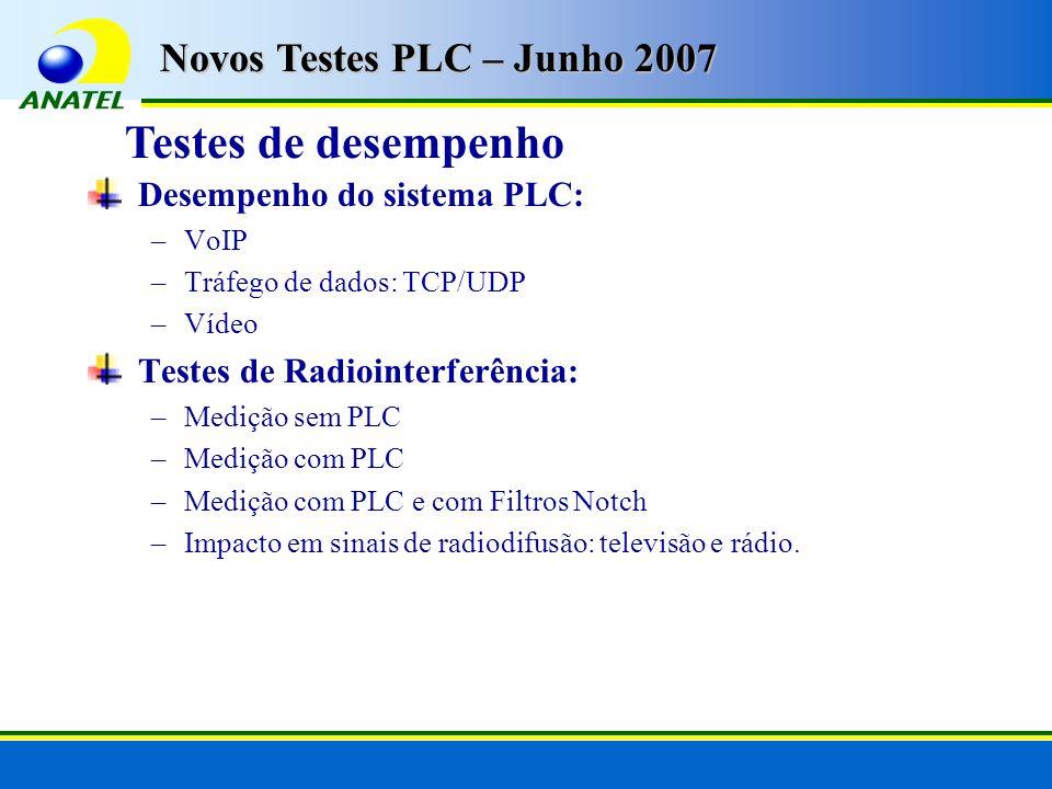 Desempenho do sistema PLC: –VoIP –Tráfego de dados: TCP/UDP –Vídeo Testes de Radiointerferência: –Medição sem PLC –Medição com PLC –Medição com PLC e