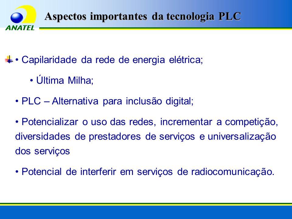 Capilaridade da rede de energia elétrica; Última Milha; PLC – Alternativa para inclusão digital; Potencializar o uso das redes, incrementar a competiç