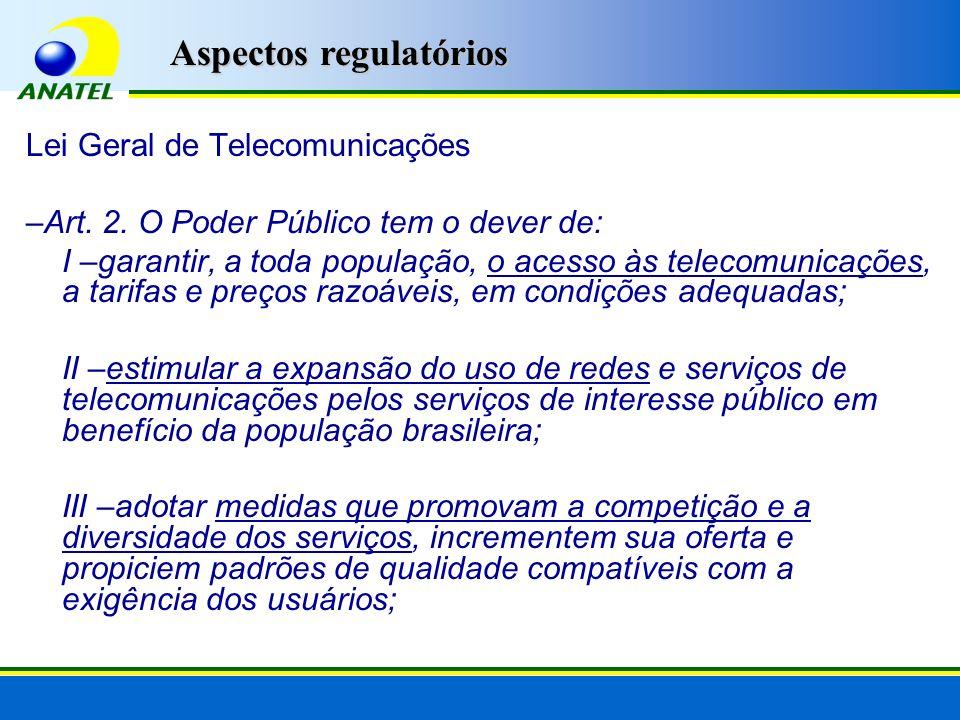 Lei Geral de Telecomunicações –Art. 2. O Poder Público tem o dever de: I –garantir, a toda população, o acesso às telecomunicações, a tarifas e preços