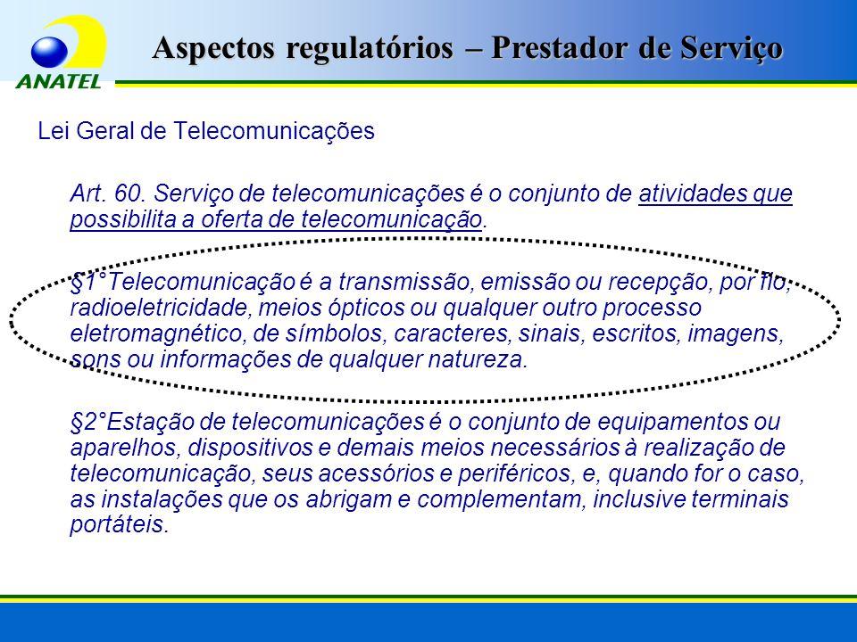 Lei Geral de Telecomunicações Art. 60. Serviço de telecomunicações é o conjunto de atividades que possibilita a oferta de telecomunicação. §1°Telecomu