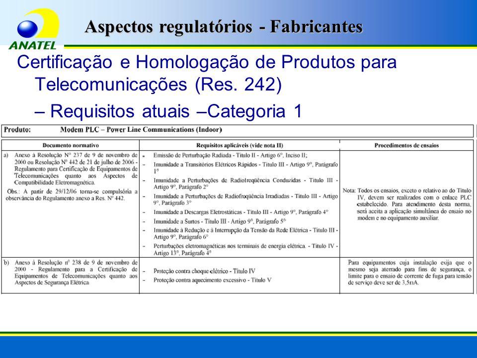 Certificação e Homologação de Produtos para Telecomunicações (Res. 242) – Requisitos atuais –Categoria 1 Aspectos regulatórios - Fabricantes