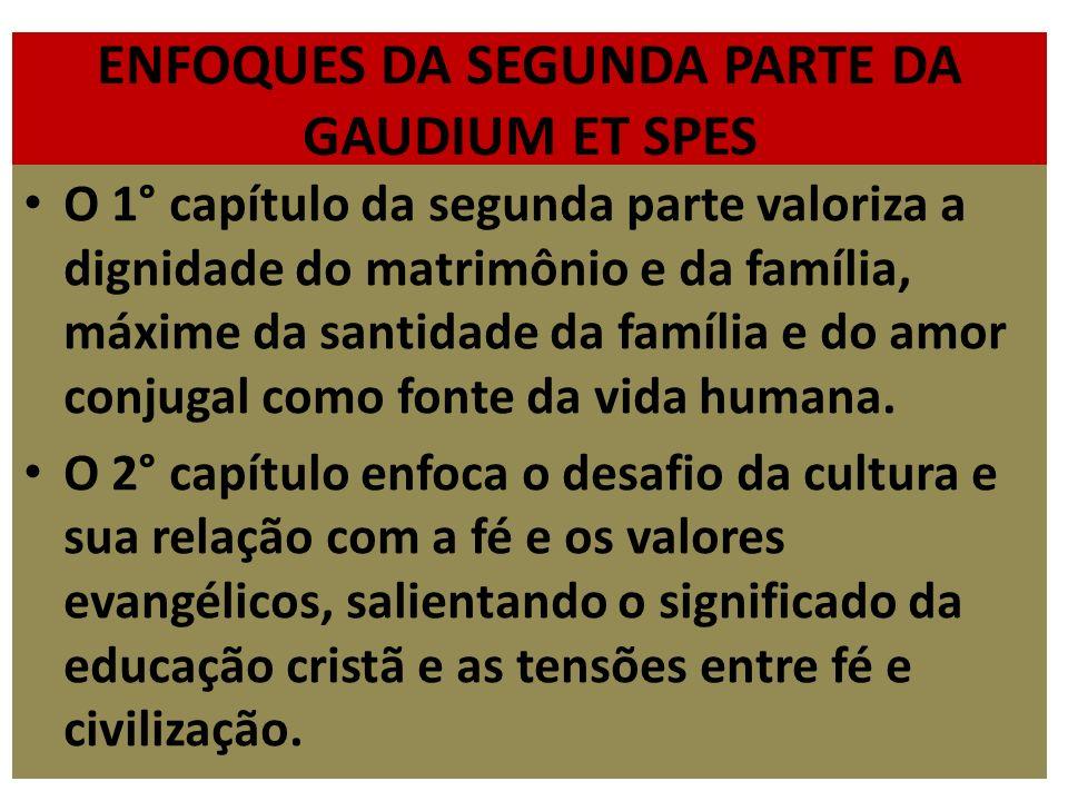 ENFOQUES DA SEGUNDA PARTE DA GAUDIUM ET SPES O 1° capítulo da segunda parte valoriza a dignidade do matrimônio e da família, máxime da santidade da fa