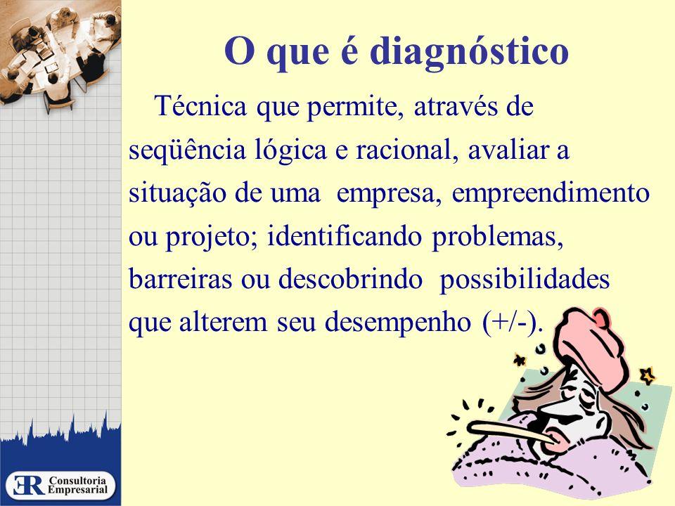 O que é diagnóstico Técnica que permite, através de seqüência lógica e racional, avaliar a situação de uma empresa, empreendimento ou projeto; identif