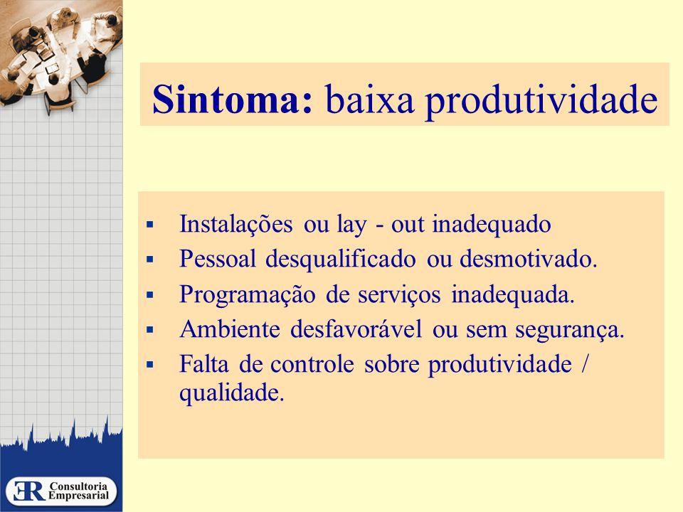 Sintoma: baixa produtividade Instalações ou lay - out inadequado Pessoal desqualificado ou desmotivado. Programação de serviços inadequada. Ambiente d